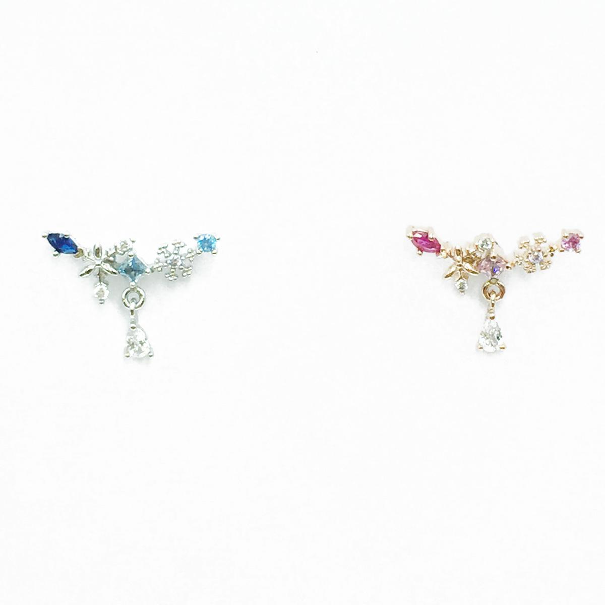 韓國 不鏽鋼 水鑽 2色 單支後轉 垂墜感 耳針式耳環