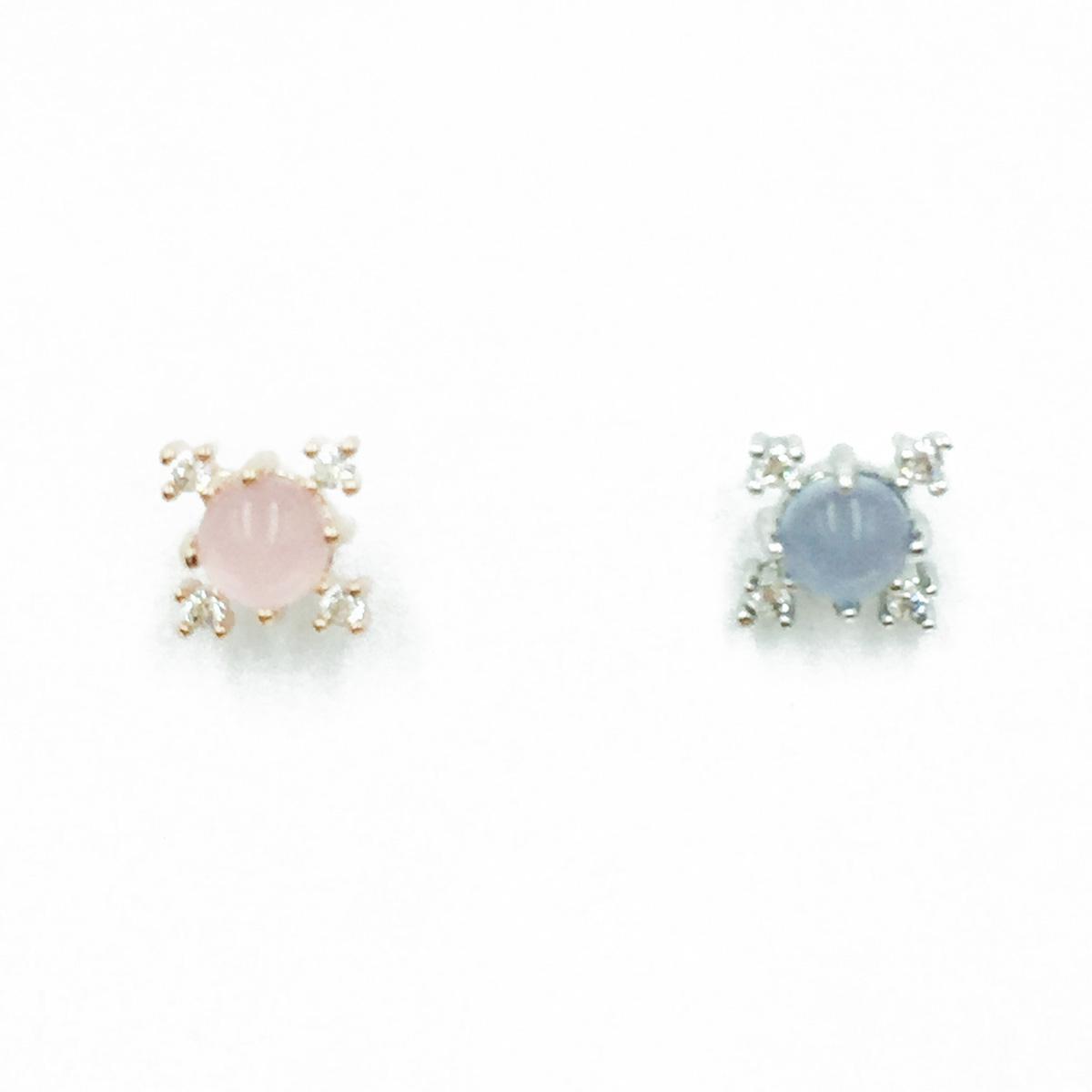 韓國 不銹鋼 水鑽 簡約 單支後轉 耳針式耳環
