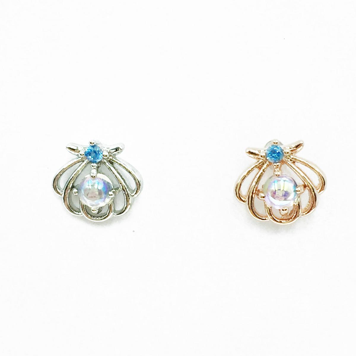 韓國 不鏽鋼 愛心 貝殼 水鑽 兩色 單支後轉 耳針式耳環