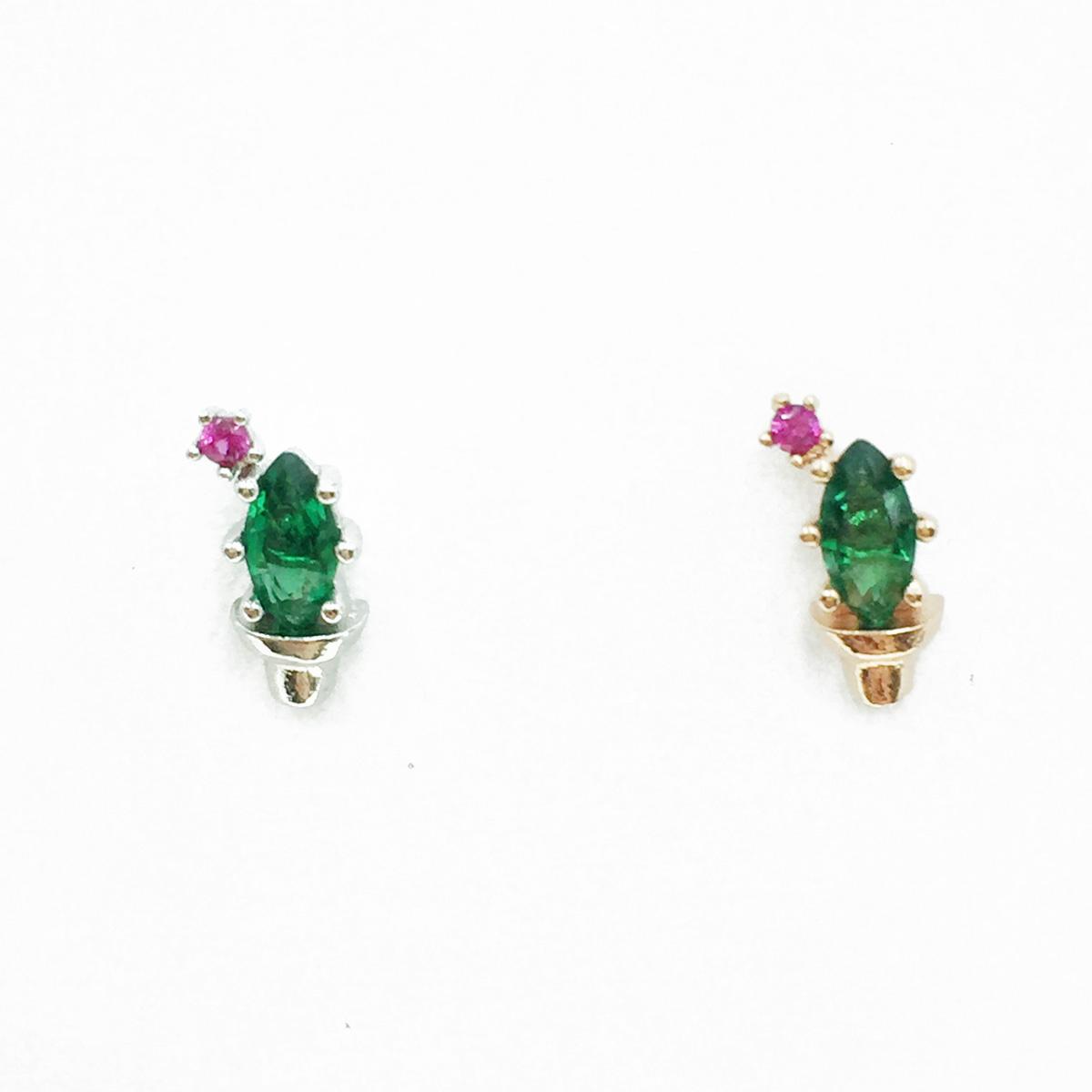 韓國 不鏽鋼 仙人掌 水鑽 兩色 單支後轉 耳針式耳環