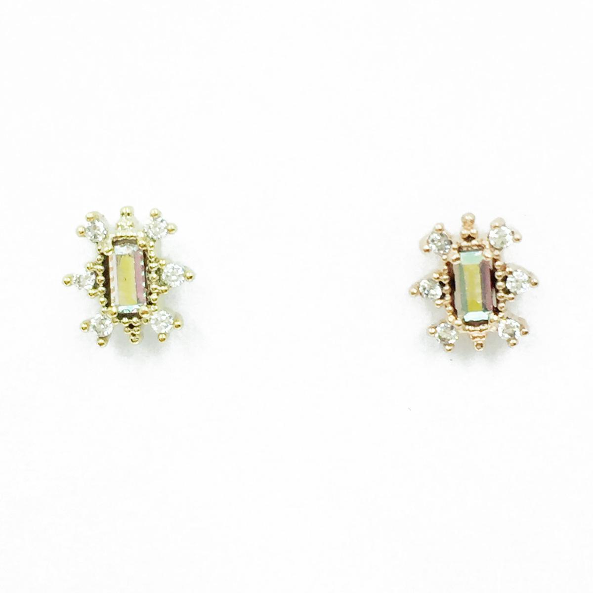 韓國 不鏽鋼 水鑽 兩色 單支後轉 耳針式耳環