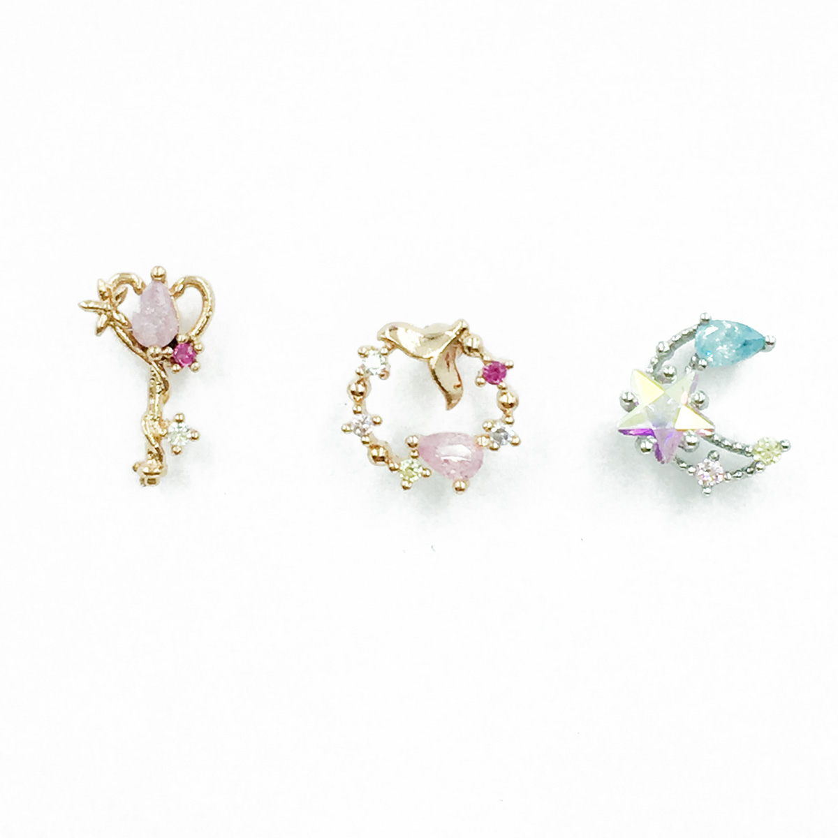 韓國 不鏽鋼 星星月亮 鑰匙 水鑽 單支後轉 耳針式耳環