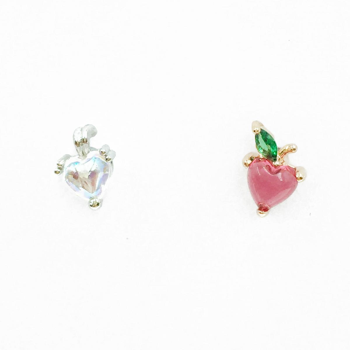 韓國 不鏽鋼 愛心 水鑽 單支後轉 耳針式耳環