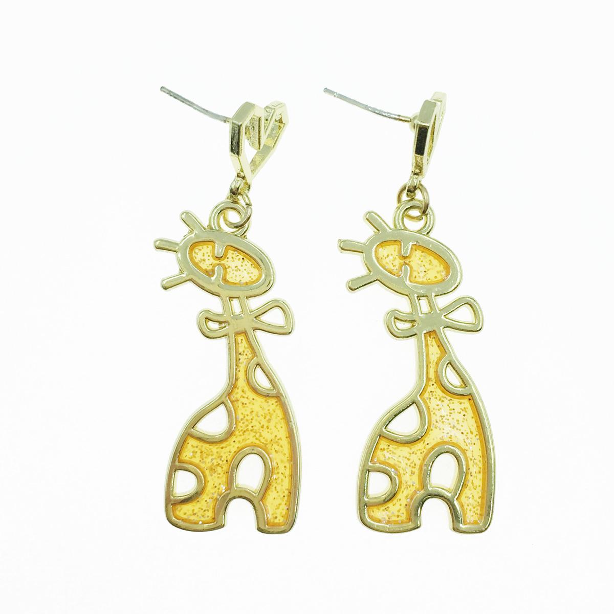 韓國 925純銀 長頸鹿 愛心 垂墜感 耳針式耳環