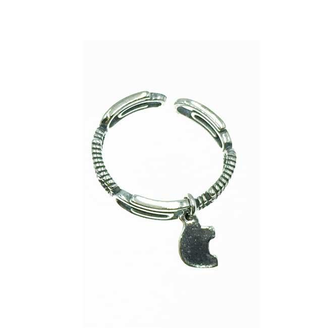 韓國 925純銀 簍空迴紋針 垂墜 可調式 戒指