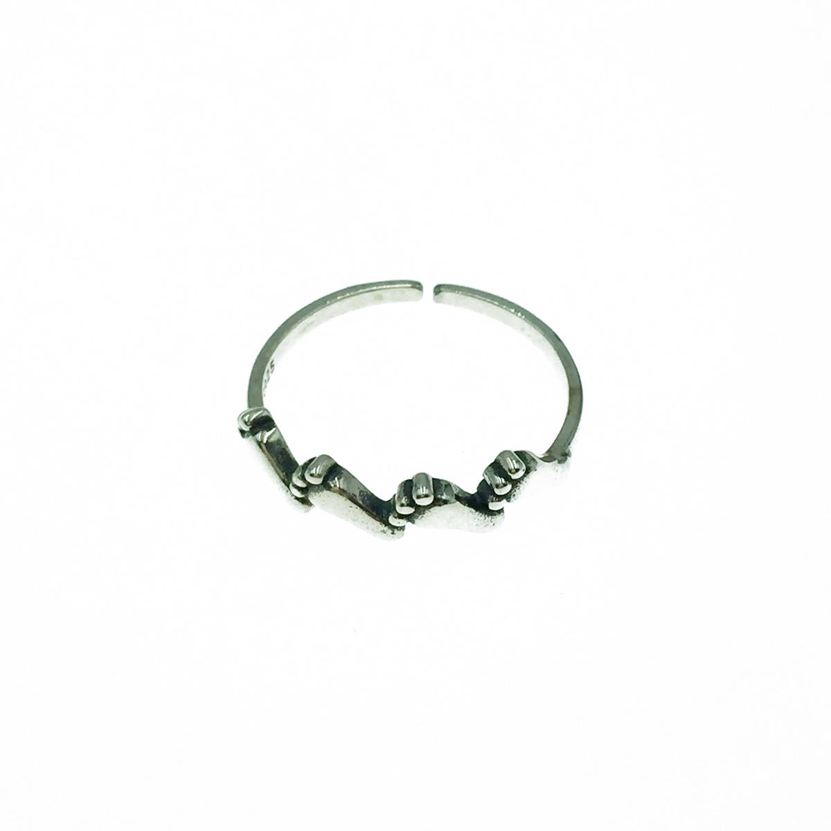 韓國 925純銀 腳丫 個性 金屬風 可調式 戒指