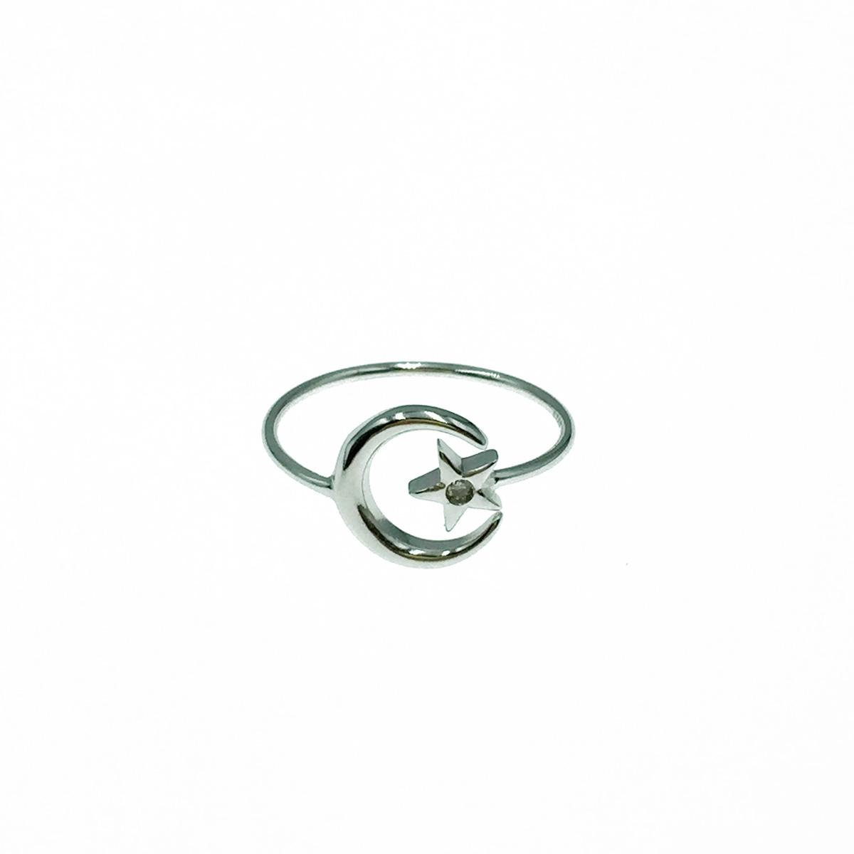 韓國 925純銀 月亮 星星水鑽 可調式 戒指