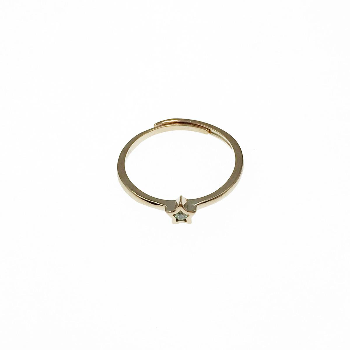 韓國 925純銀 星星 水鑽 玫瑰金 可調式 戒指