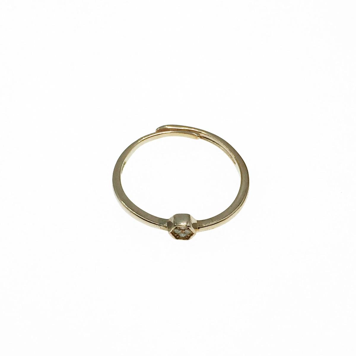 韓國 925純銀 六角形 水鑽 玫瑰金 可調式 戒指