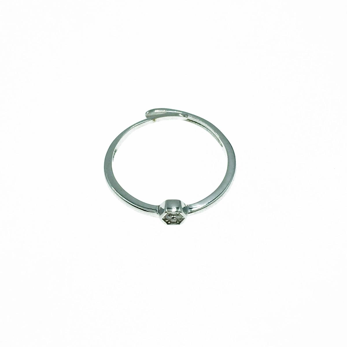 韓國 925純銀 水鑽 六角形 可調式 戒指