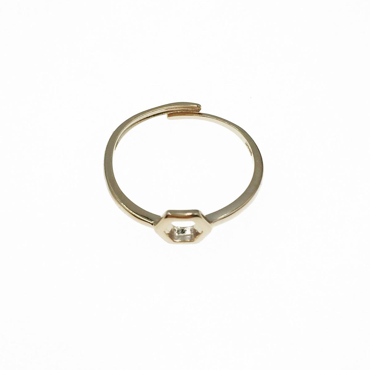 韓國 925純銀 玫瑰金 簍空六角形 可調式 戒指