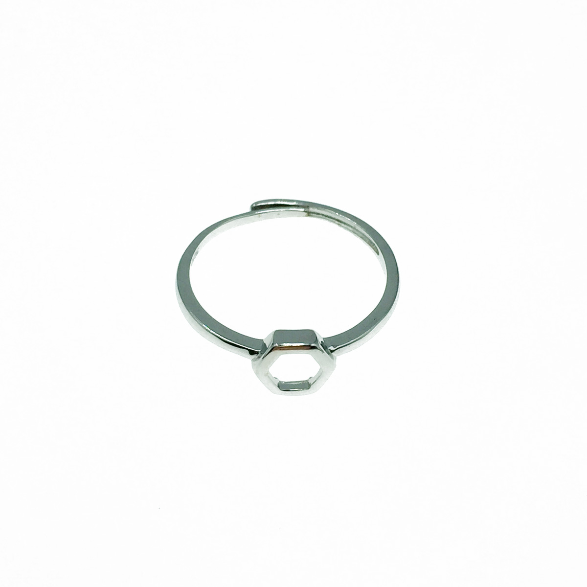 韓國 925純銀 簍空六角形 可調式 戒指