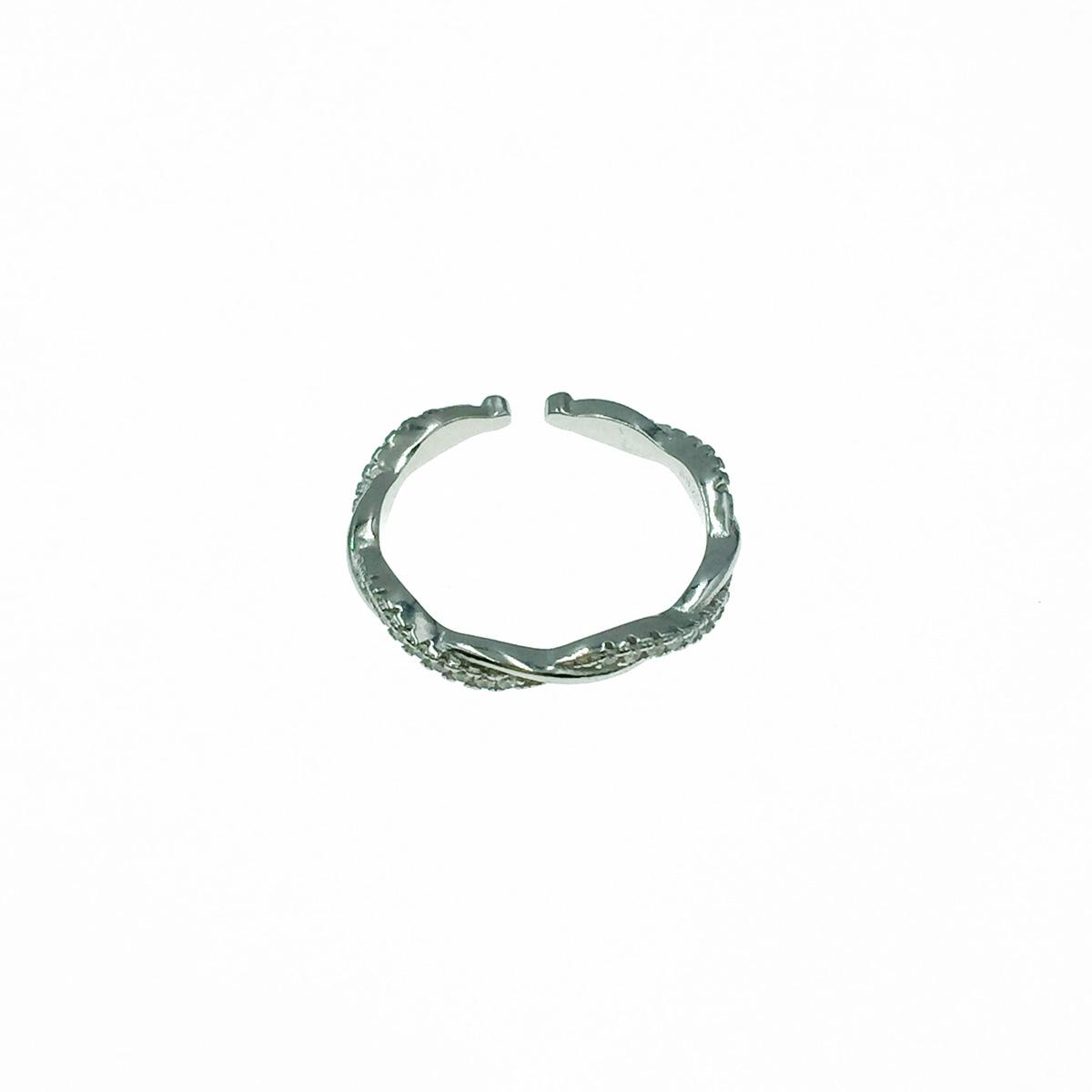 韓國 925純銀 交錯水鑽 可調式 戒指