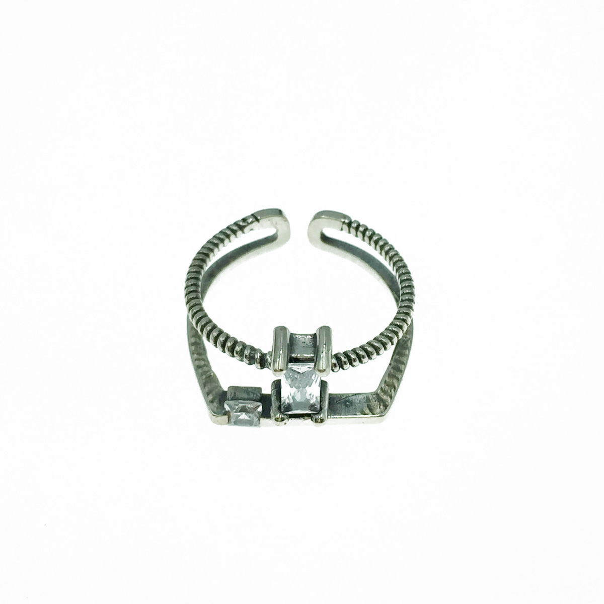 韓國 925純銀 長方水鑽 雙環 可調式 戒指