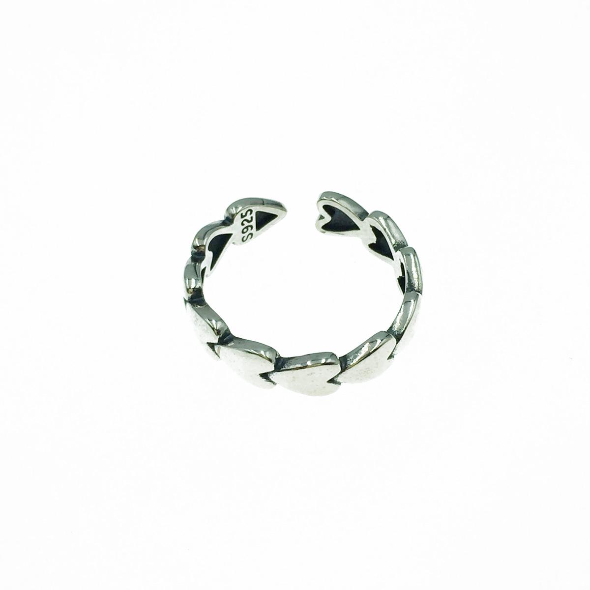 韓國 925純銀 愛心 金屬個性風 可調式 戒指