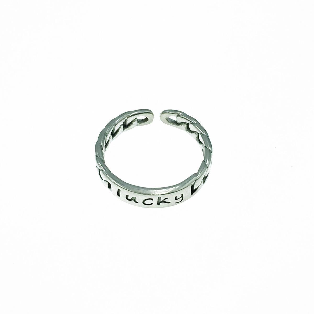 韓國 925純銀 lucky 金屬個性款 可調式 戒指