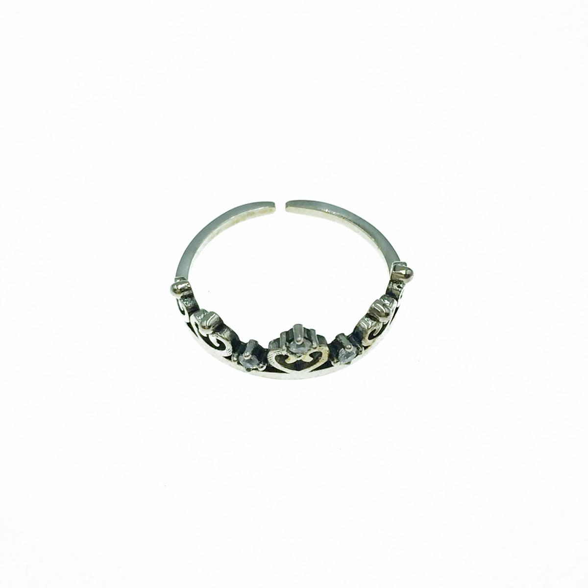 韓國 925純銀 愛心簍空 水鑽 可調式 戒指