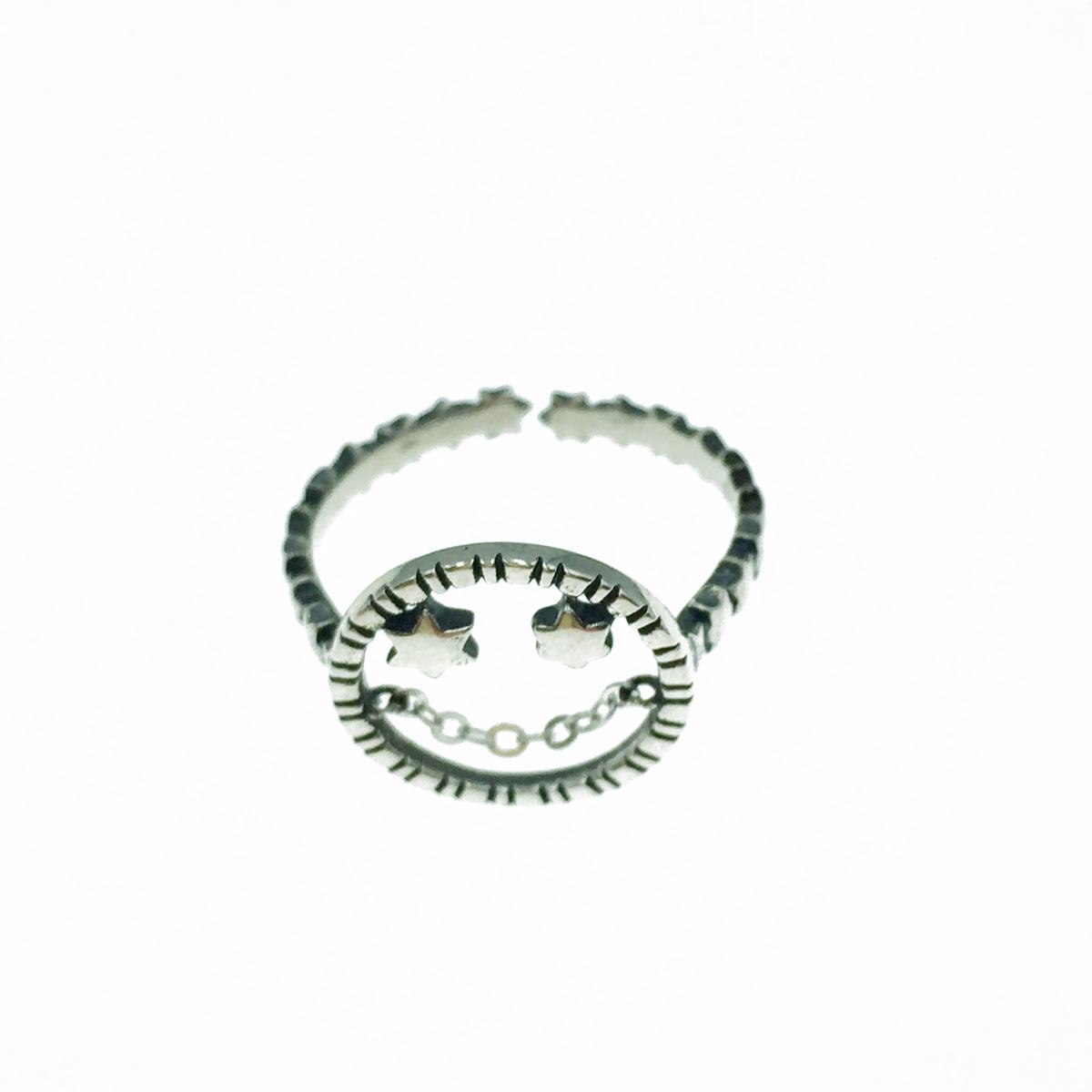 韓國 925純銀 笑臉簍空 星星 可調式 戒指