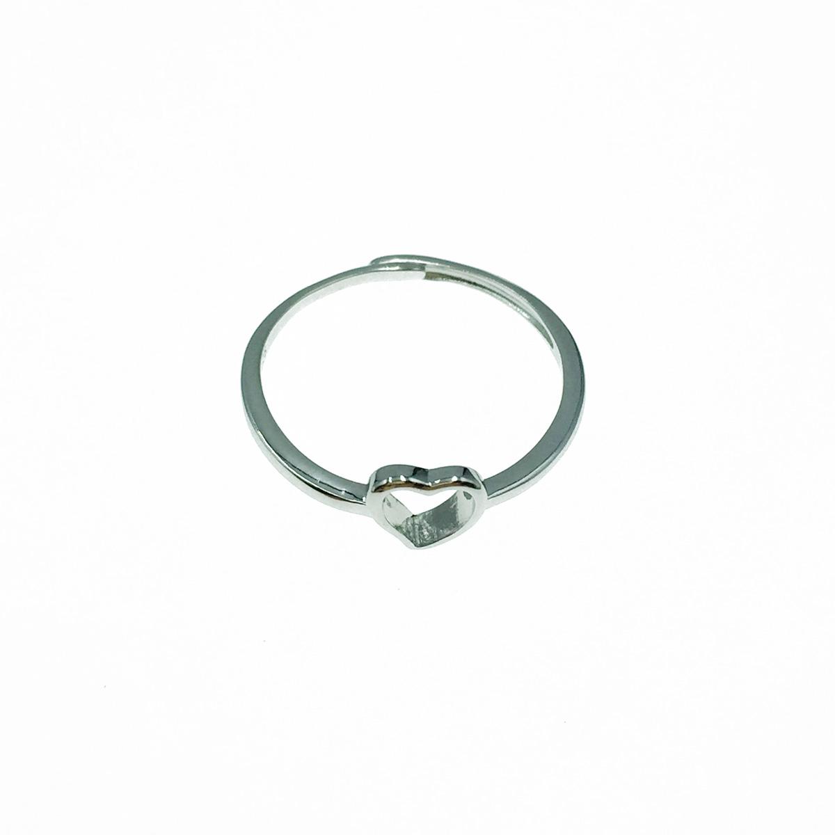 韓國 925純銀 簍空愛心 可調式 戒指