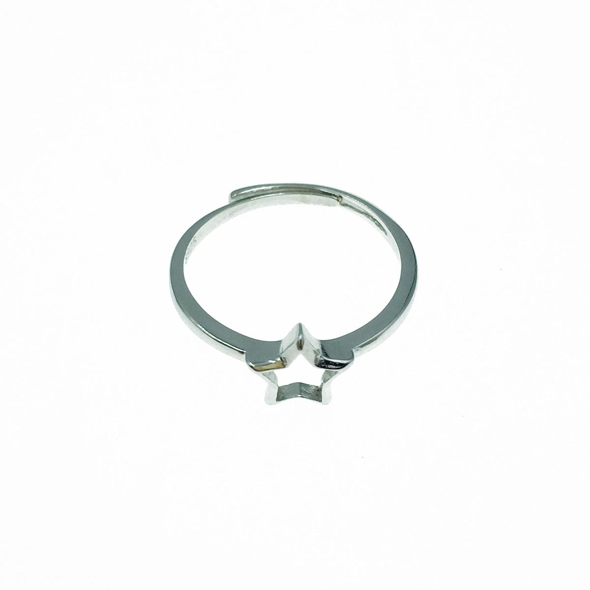 韓國 925純銀 簍空星星 可調式 戒指