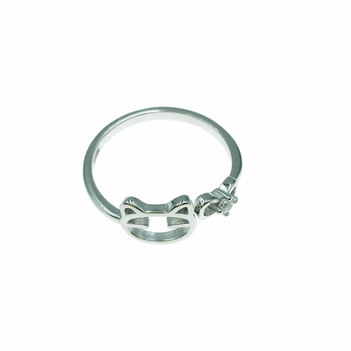 韓國 925純銀 簍空貓咪 水鑽 可調式 戒指