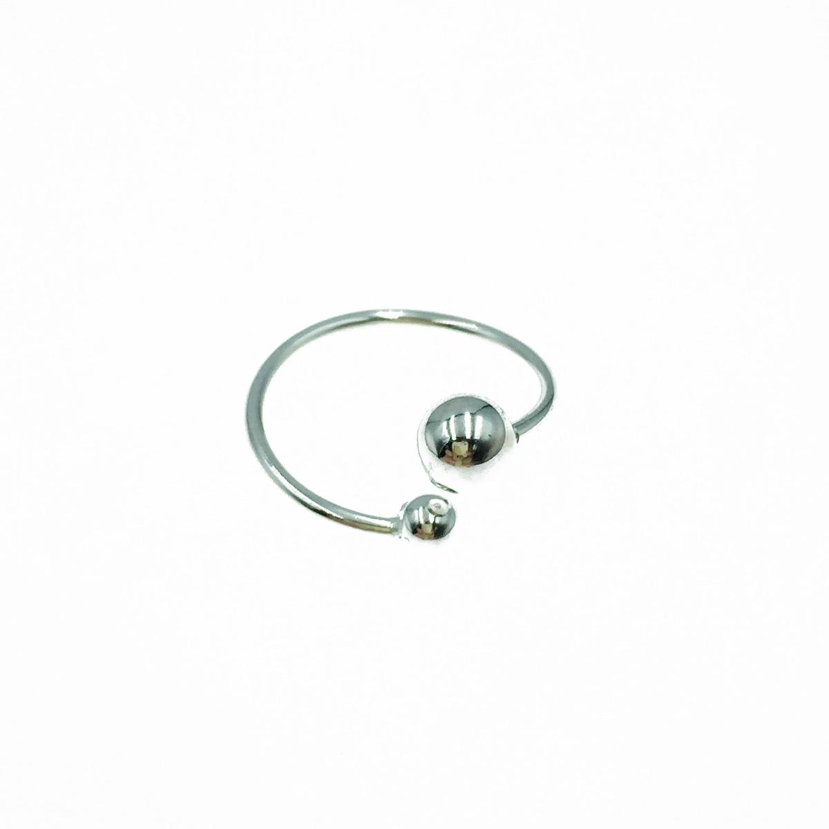 韓國 925純銀 雙珠 金屬個性款 可調式 戒指