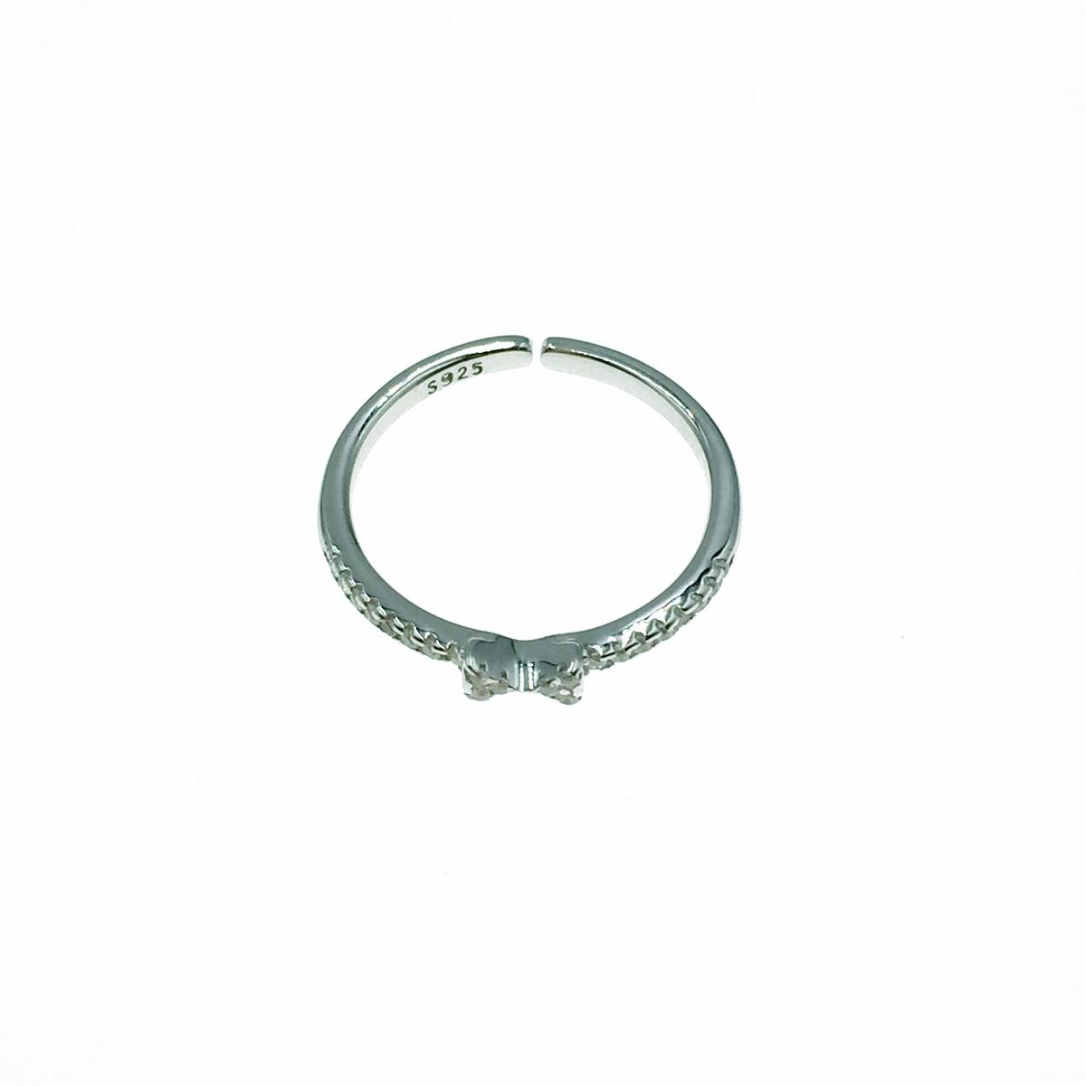 韓國 925純銀 蝴蝶結 水鑽 可調式 戒指