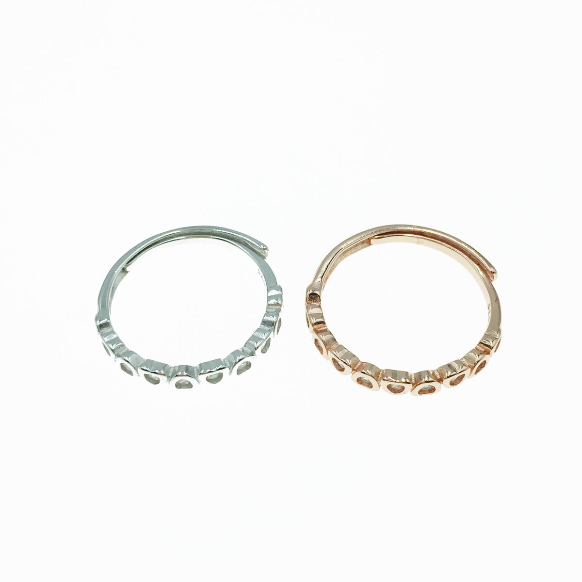韓國 925純銀 水鑽 玫瑰金 銀 可調式 戒指
