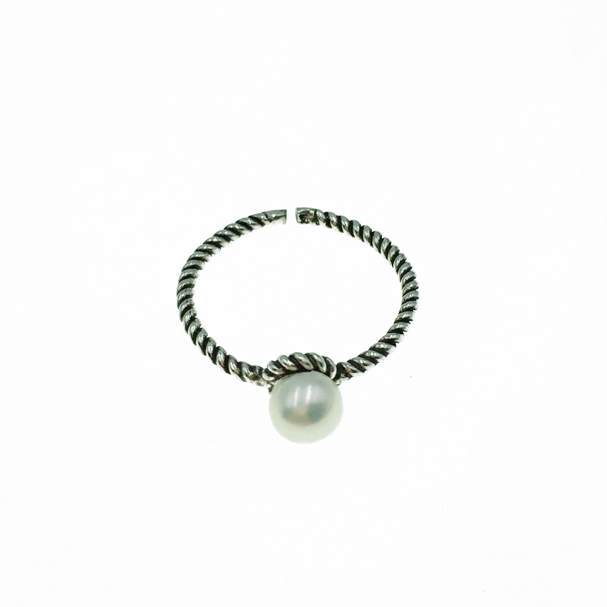 韓國 925純銀 珍珠 可調式 戒指