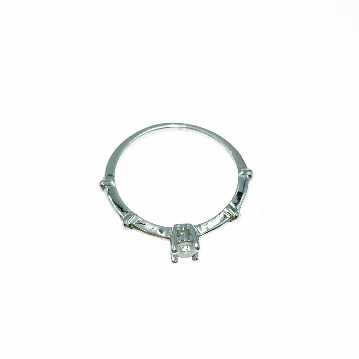 韓國 925純銀 竹節 水鑽 戒指