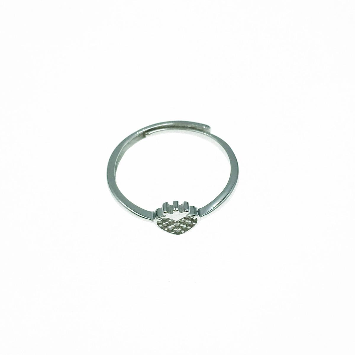 韓國 925純銀 愛心 水鑽 可調式 戒指