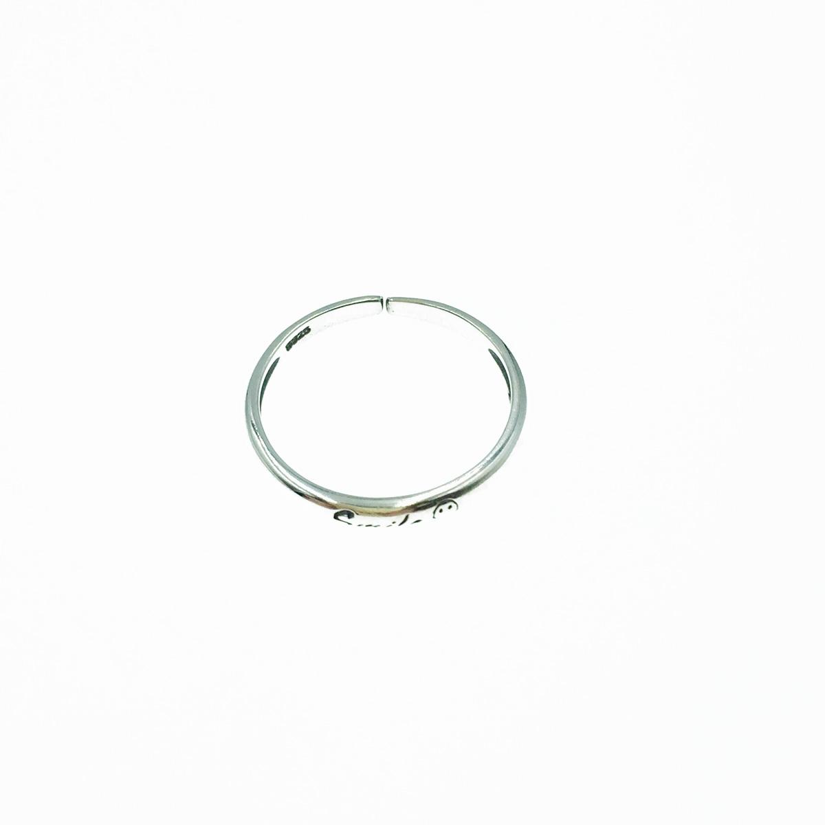 韓國 925純銀 smile 笑臉 可調式 戒指
