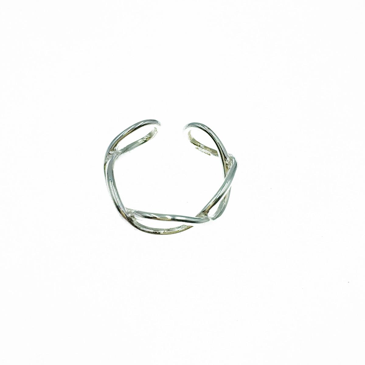 韓國 925純銀 簍空交錯 可調式 戒指