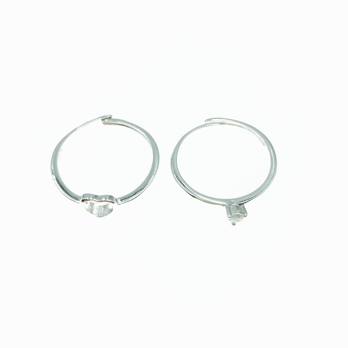 韓國 925純銀 簍空愛心 水鑽 兩入組 可調式 戒指
