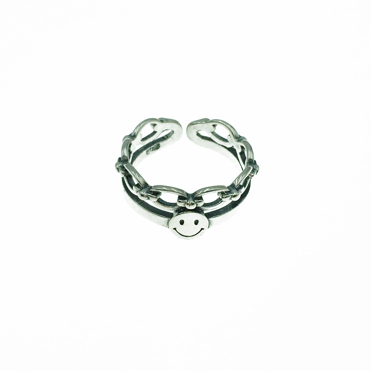 韓國 925純銀 笑臉 雙圈 可調式 戒指