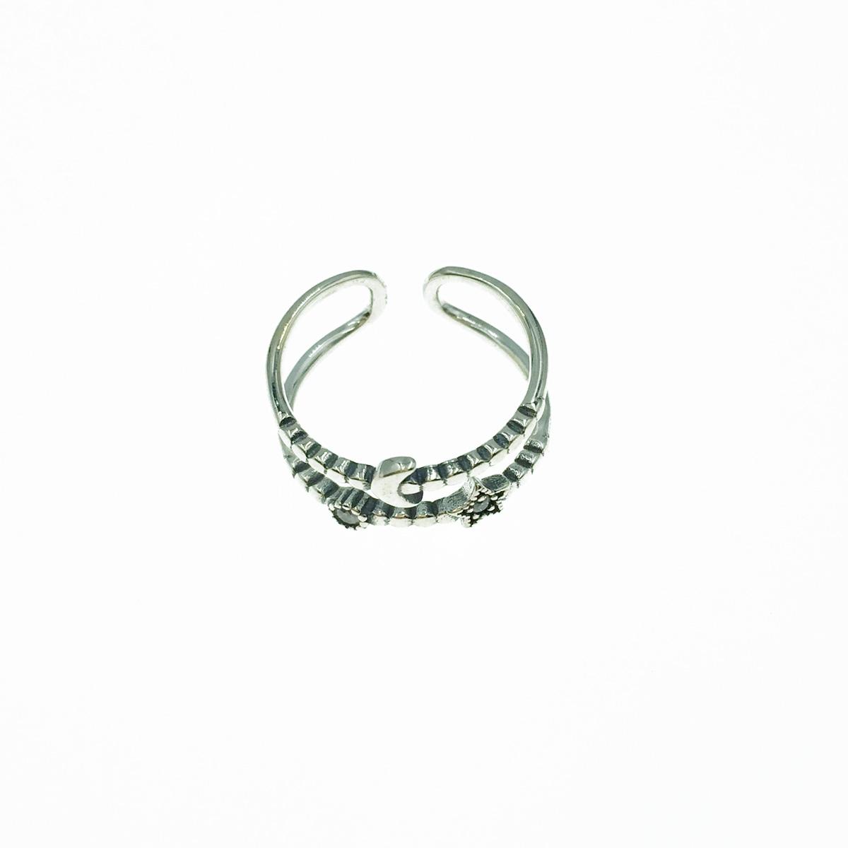 韓國 925純銀 星星月亮 水鑽 可調式 戒指