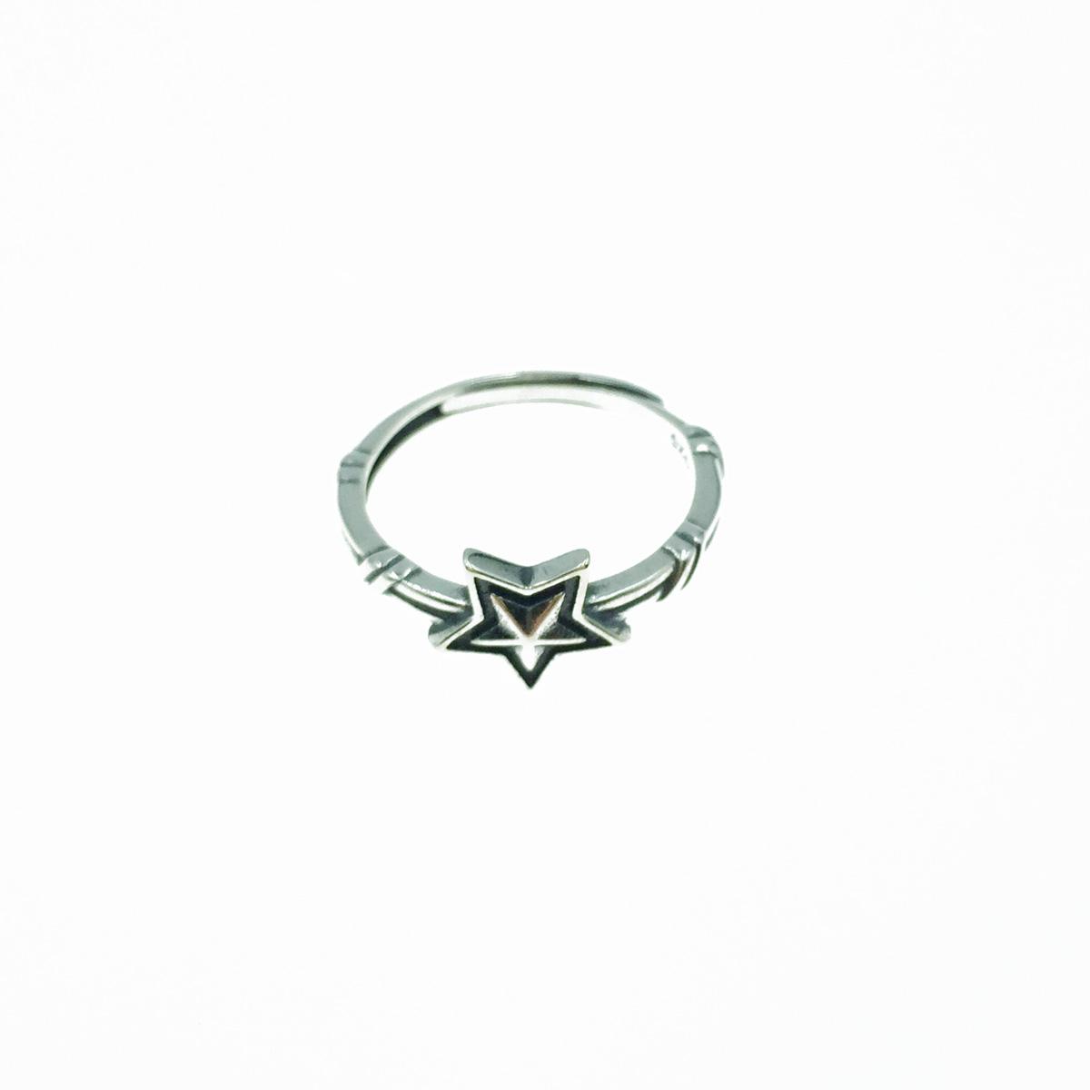 韓國 925純銀 星星 竹節 可調式 戒指