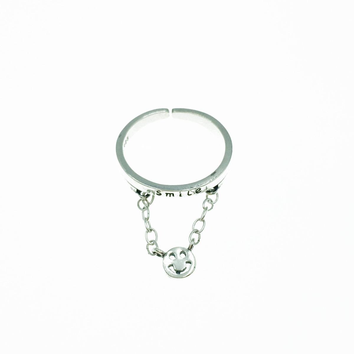 韓國 925純銀 smile 笑臉鍊 可調式 戒指