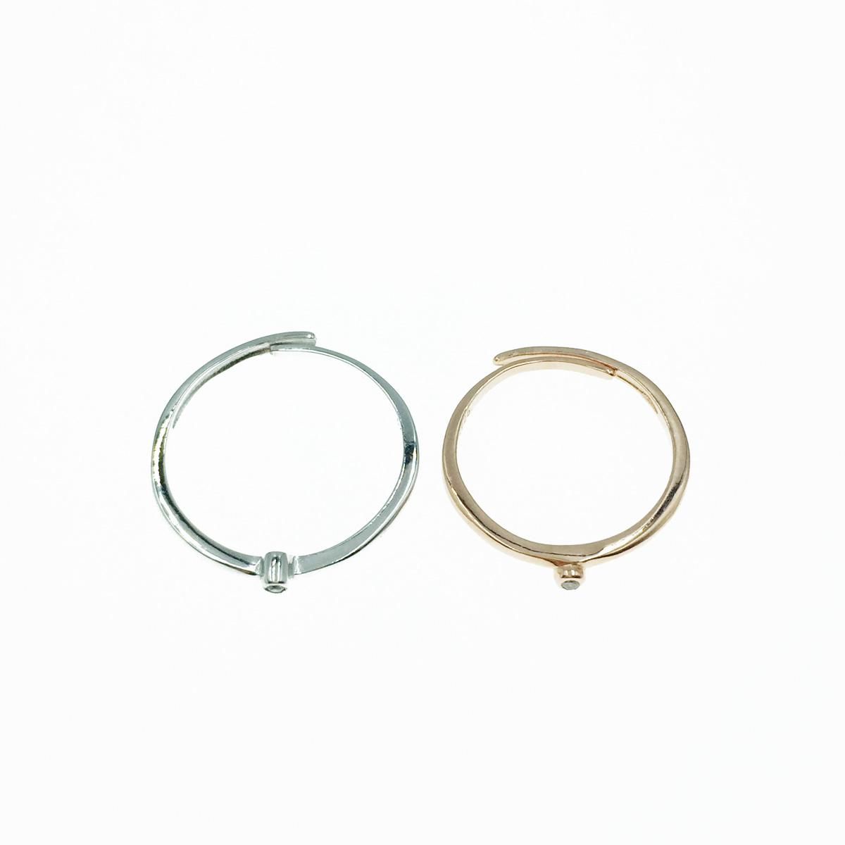 韓國 925純銀 水鑽 簡約款 玫瑰金 銀色 可調式 戒指