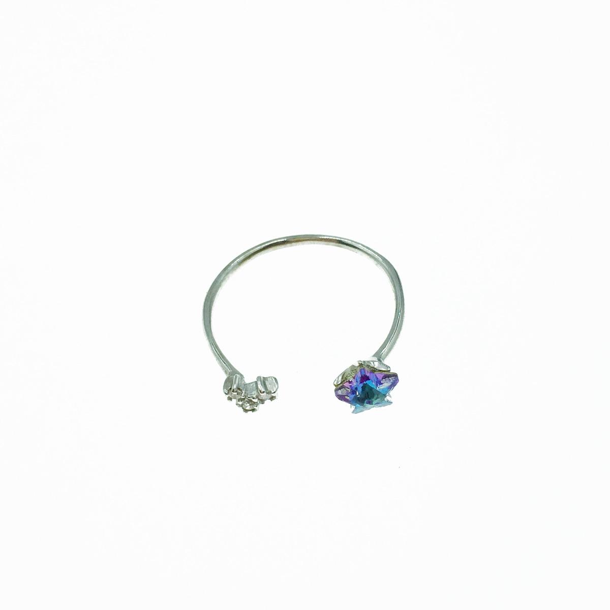 韓國 925純銀 水鑽 星星 可調式 戒指