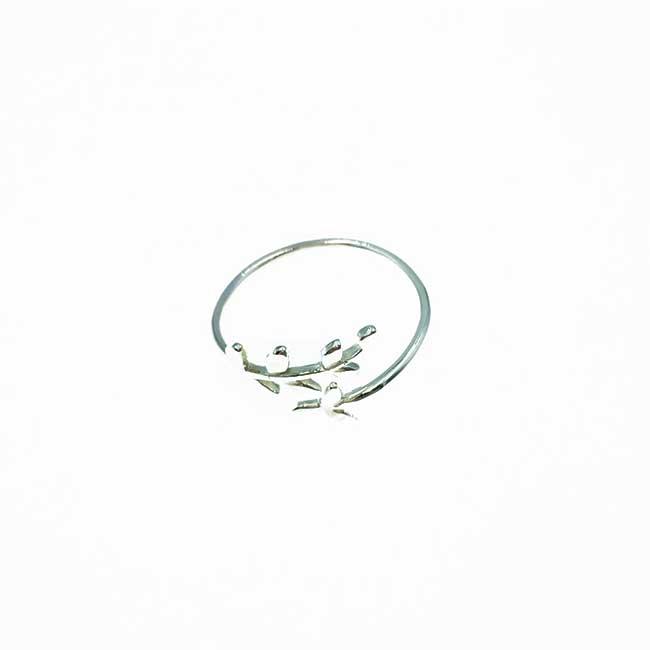 韓國 925純銀 葉子 可調式 戒指