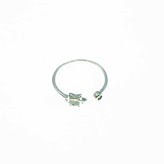 韓國 925純銀 簍空星星 水鑽 可調式 戒指