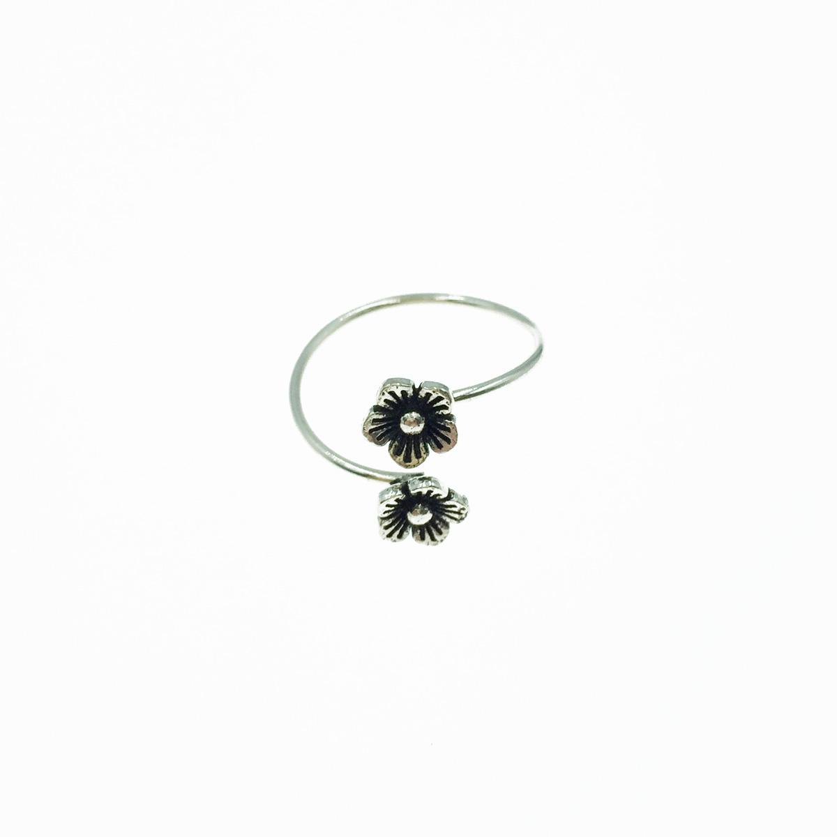 韓國 925純銀 金屬花 可調式 戒指