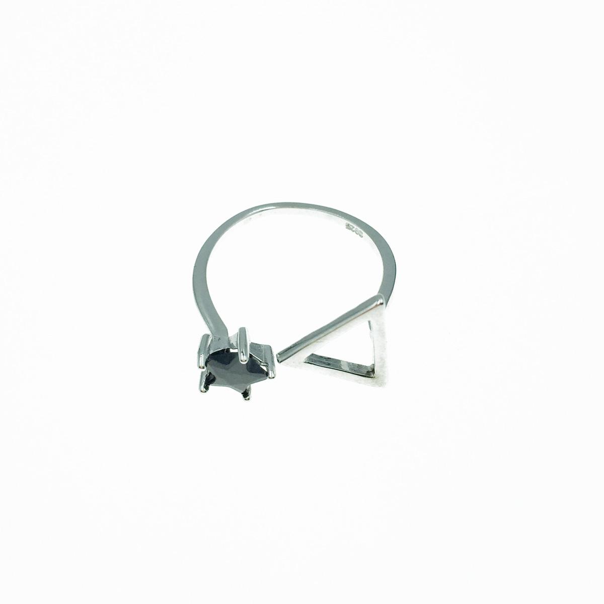 韓國 925純銀 簍空三角 黑星星 可調式 戒指