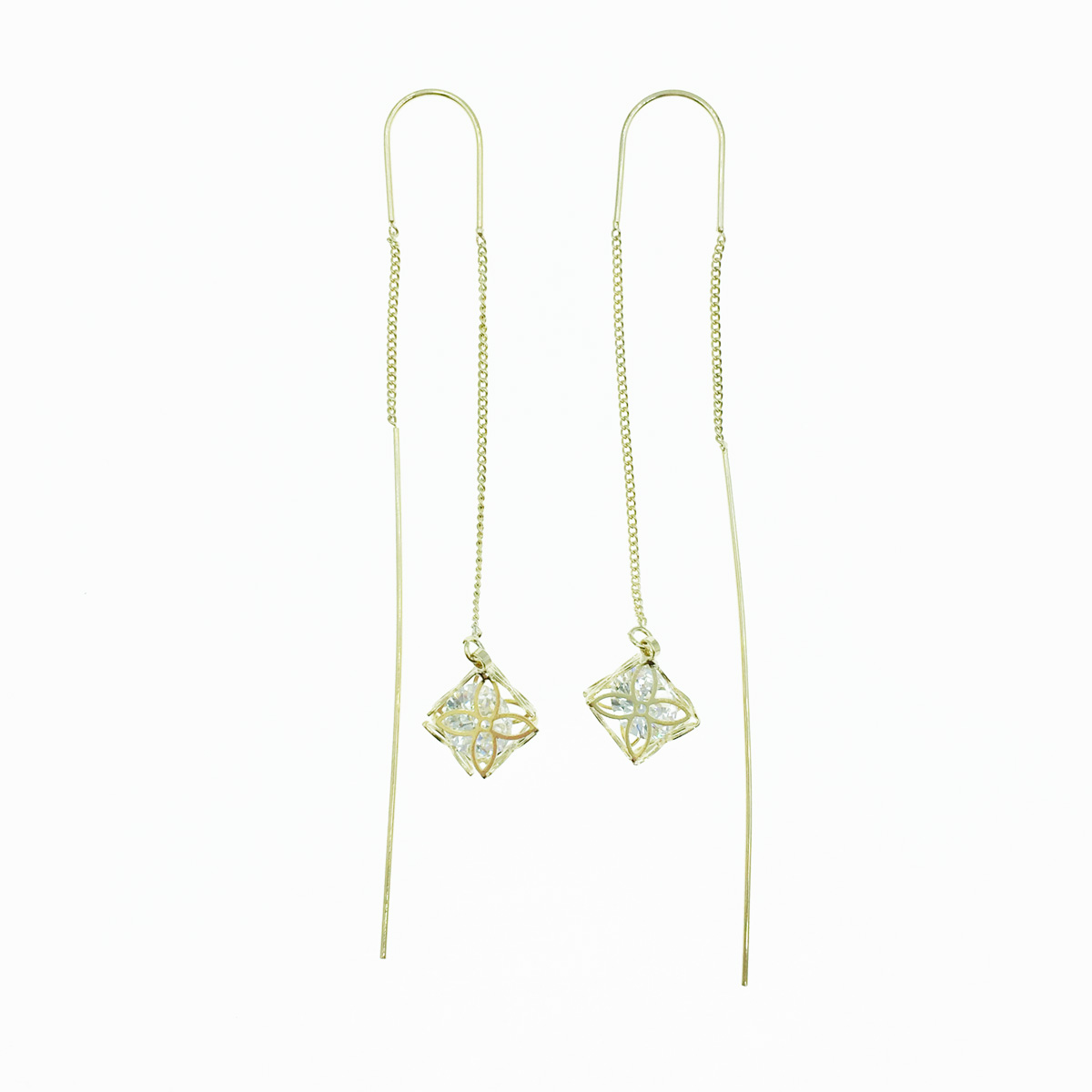 韓國 925純銀 簍空花 水鑽 金 優雅款 耳勾式 耳鍊耳環