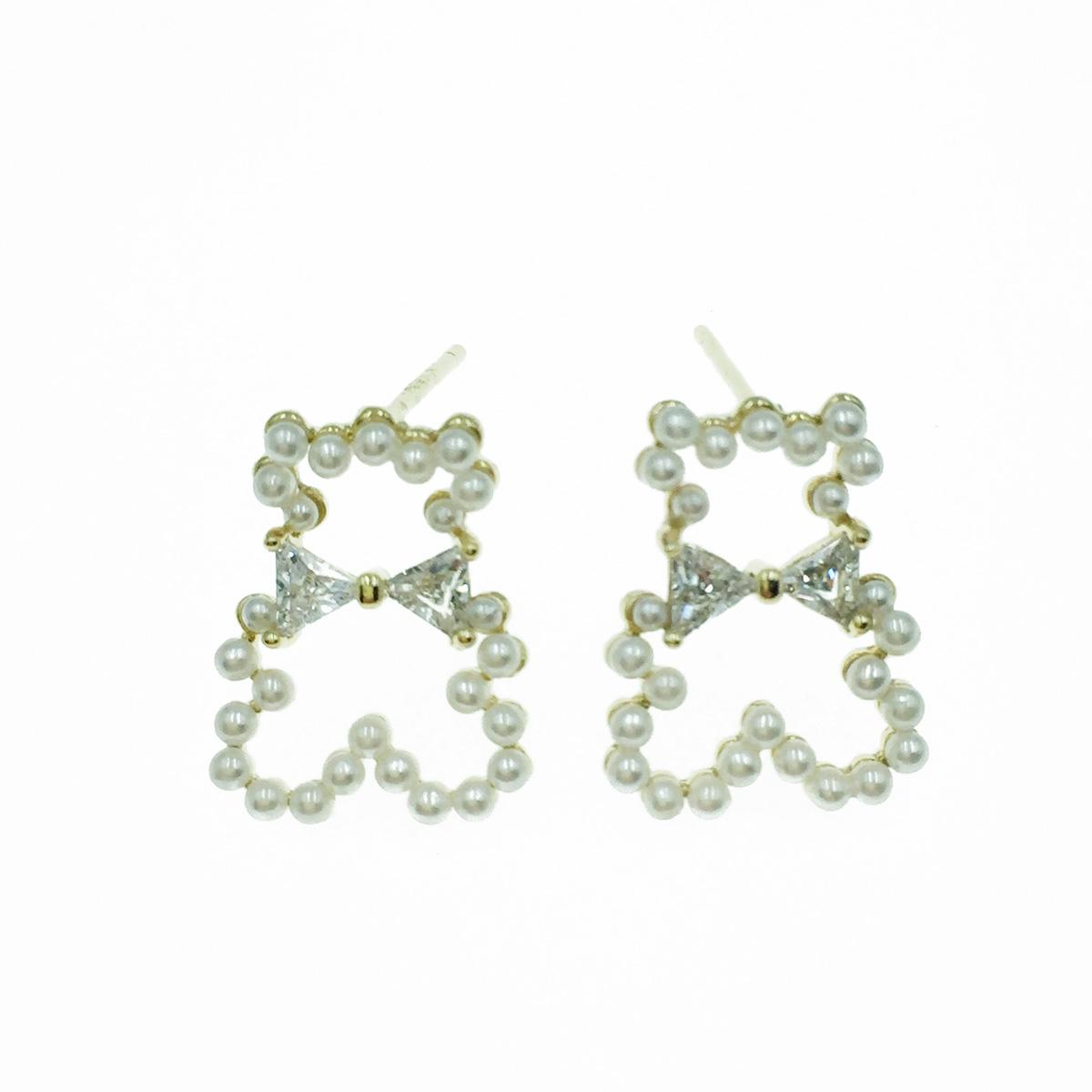 韓國 925純銀 小熊簍空 珍珠 蝴蝶結水鑽 耳針式耳環