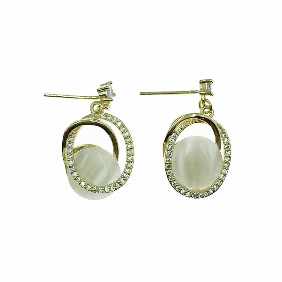 韓國 925純銀 水鑽 交錯圓 垂墜感 耳針式耳環