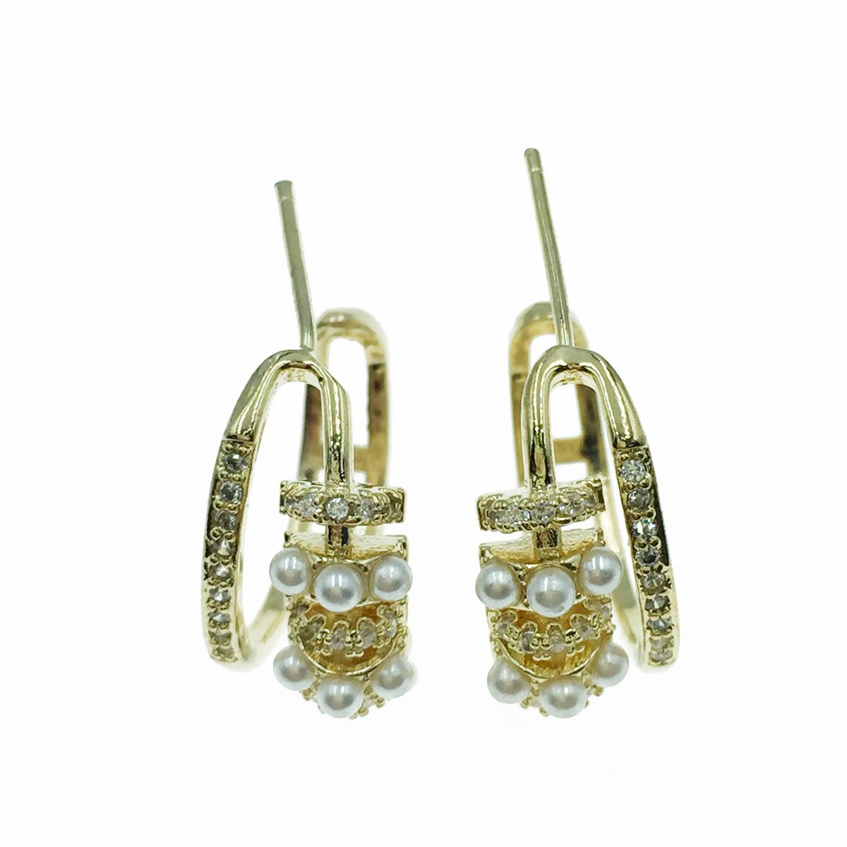 韓國 925純銀 C圈 珍珠 水鑽 耳針式耳環