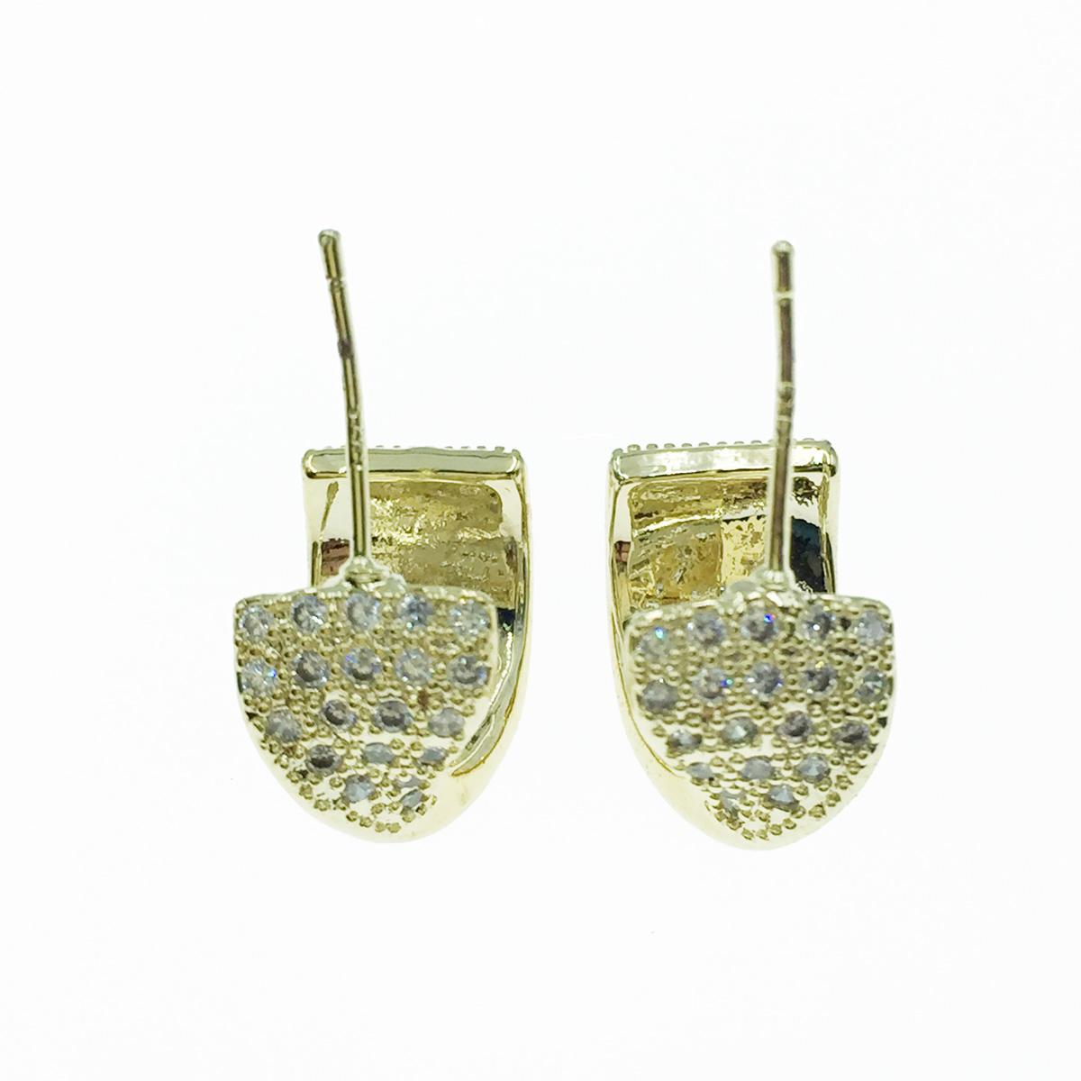 韓國 925純銀 水鑽 金色 C圈 耳針式耳環