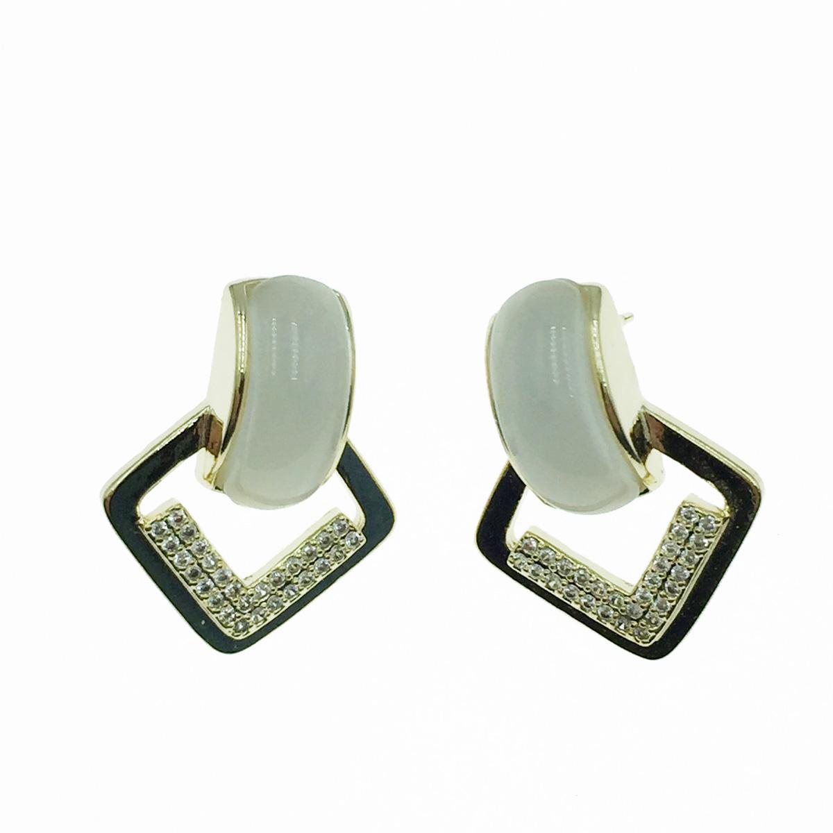 韓國 925純銀 水鑽 優雅 耳針式耳環